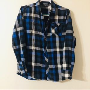Zoo York Blue Plaid Button Down Flannel